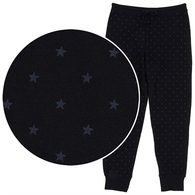 Black and Gray Star Cotton Pajama Pants for Women with Cuffs
