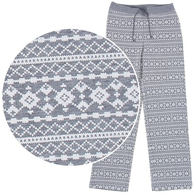 Gray Patterned Cotton Pajama Pants for Women