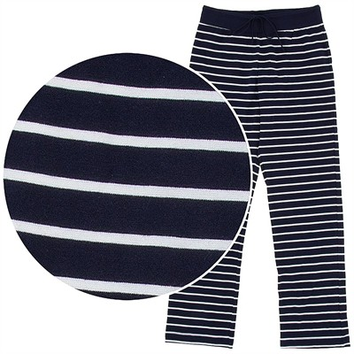 Navy Striped Cotton Pajama Pants for Women