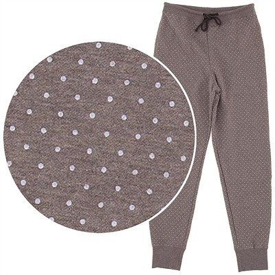 Taupe Polka Dot Cotton Pajama Pants for Women with Cuffs