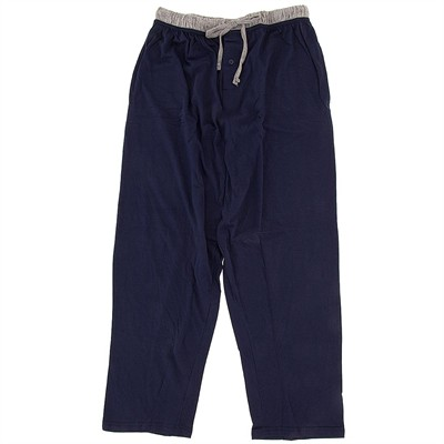 Navy Cotton Knit Pajama Pants for Men