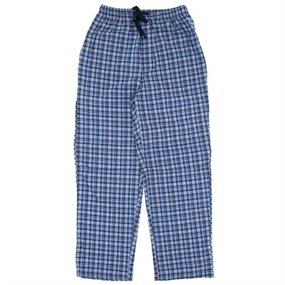Blue Plaid Cotton Pajama Pants for Men