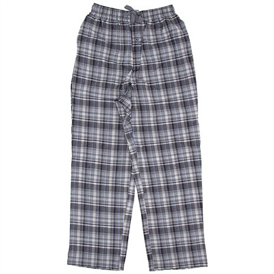 Gray Plaid Cotton Pajama Pants for Men
