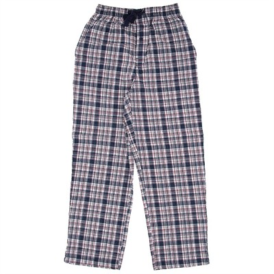 Navy Plaid Cotton Pajama Pants for Men