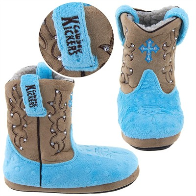 Cowboy Kickers Blue Cross Slippers for Girls