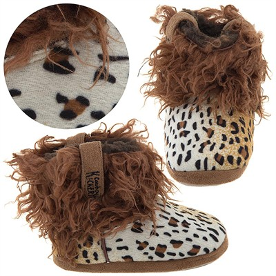Cowboy Kickers Wooly Cheetah Slippers for Infants, Toddlers, and Girls
