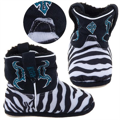 Cowboy Kickers Zebra Print Slippers for Infants, Toddlers, and Girls