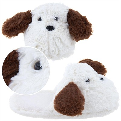 White Dog Slippers for Girls