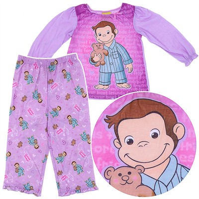 Curious George Purple Teddy Bear Pajamas for Girls