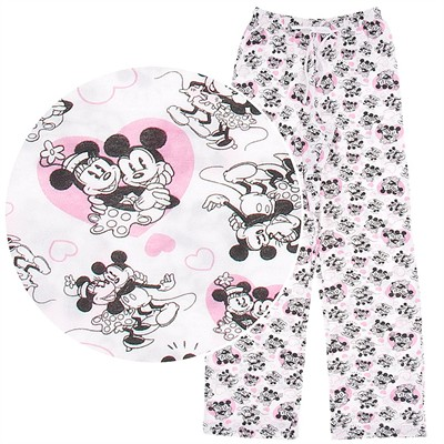 Mickey and Minnie Mouse Cotton Pajama Pants for Women