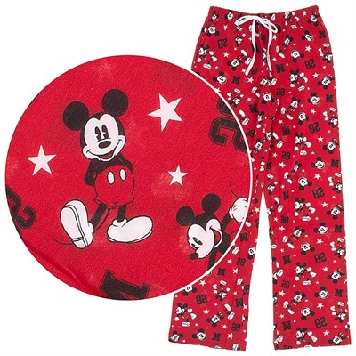 Mickey Mouse Red Cotton Pajama Pants for Women