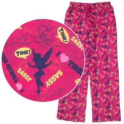 Tinker Bell Dark Pink Cotton Pajama Pants for Women