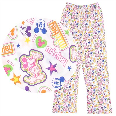 Mickey Mouse White Cotton Pajama Pants for Women