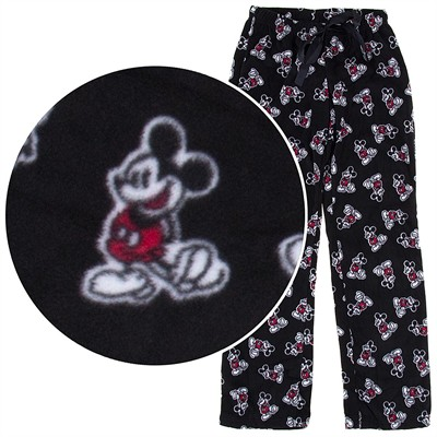 Mickey Mouse Black Fleece Pajama Pants for Women