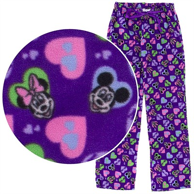 Purple Mickey and Minnie Fleece Pajama Pants for Women