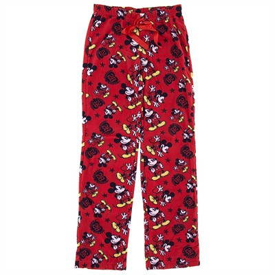 Red Mickey Mouse Fleece Pajama Pants for Women