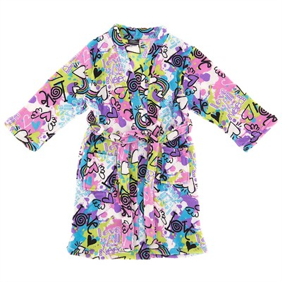 Graffiti Hearts Bathrobe for Girls