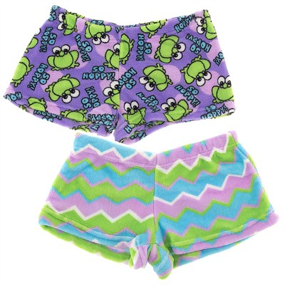 Fancy Girlz Frog Zig Two Plush Pajama Shorts for Juniors