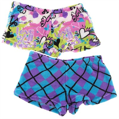 Fancy Girlz Graffiti Argyle Two Plush Pajama Shorts for Juniors