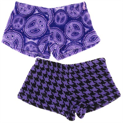 Fancy Girlz Peace Houndstooth Two Plush Pajama Shorts for Juniors
