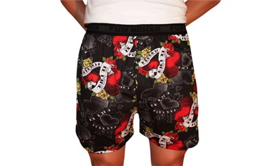 Fun Boxers Tattoo Hearts Valentine's Day Boxer Shorts for Men