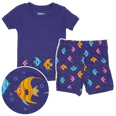 Purple Fish Shorty Pajamas for Toddler Girls