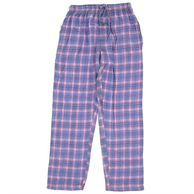 Pink and Blue Flannel Pajama Pants for Women