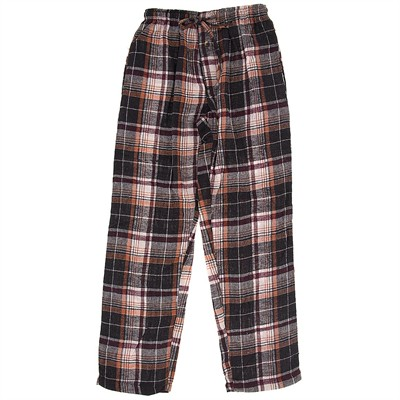 Brown Plaid Flannel Pajama Pants for Women