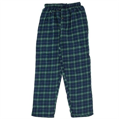 Green and Blue Checked Flannel Pajama Pants for Women