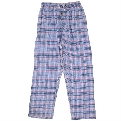Pink and Light Blue Flannel Pajama Pants for Women