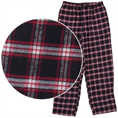 Black and Red Plaid Flannel Pajama Pants for Men