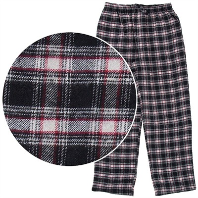 Black Plaid Flannel Pajama Pants for Men