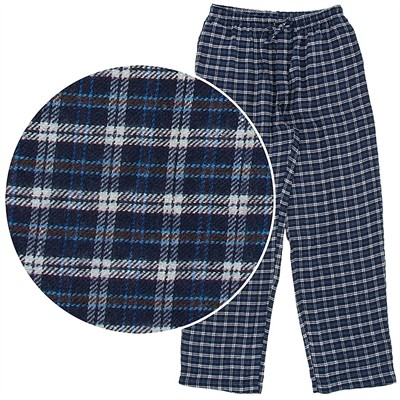 Navy and Beige Plaid Flannel Pajama Pants for Men