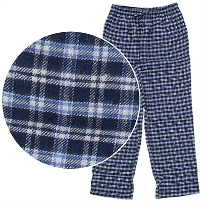 Blue Plaid Flannel Pajama Pants for Men