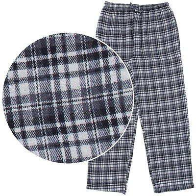 Gray and White Plaid Flannel Pajama Pants for Men