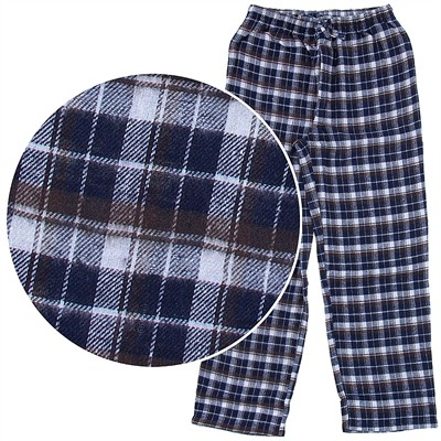 Navy and Brown Plaid Flannel Pajama Pants for Men