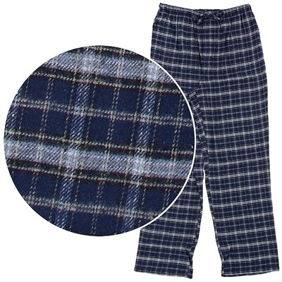 Navy and Gray Plaid Flannel Pajama Pants for Men