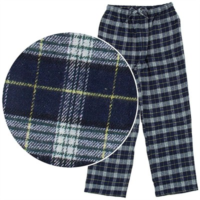 Navy and Green Plaid Flannel Pajama Pants for Men