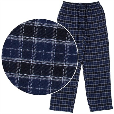 Navy Plaid Flannel Pajama Pants for Men