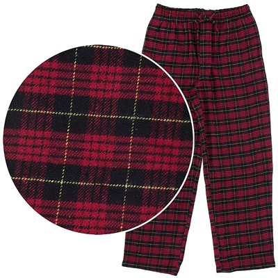 Red and Yellow Plaid Flannel Pajama Pants for Men