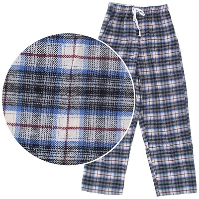 Beige and Blue Flannel Pajama Pants for Women