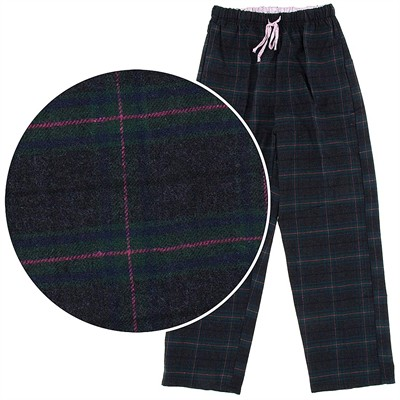 Navy and Green Flannel Pajama Pants for Women