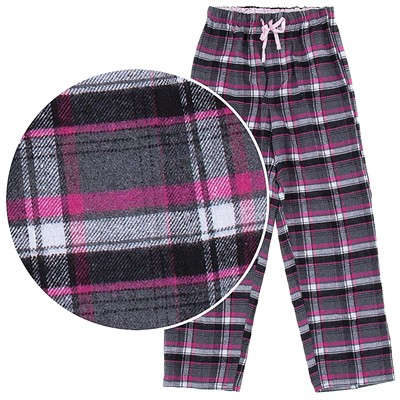 Pink and Gray Flannel Pajama Pants for Women
