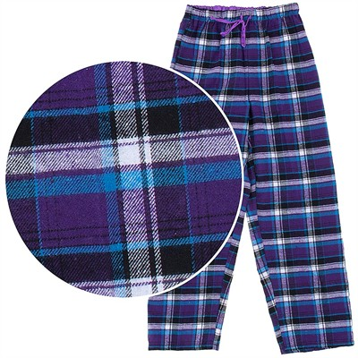Purple and Blue Flannel Pajama Pants for Women
