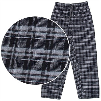 Black and Gray Plaid Flannel Pajama Pants for Men
