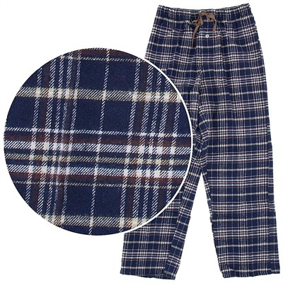 Blue and Brown Plaid Flannel Pajama Pants for Men