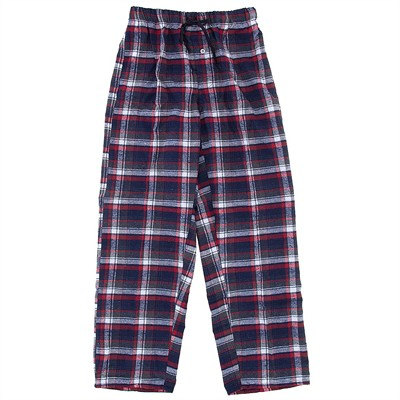 Blue and Red Plaid Flannel Pajama Pants for Men