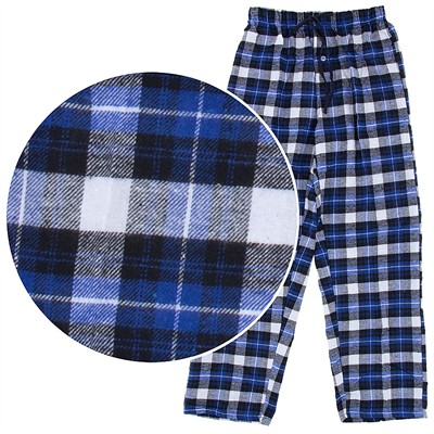 Blue and White Plaid Flannel Pajama Pants for Men