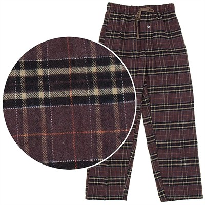 Brown Plaid Flannel Pajama Pants for Men