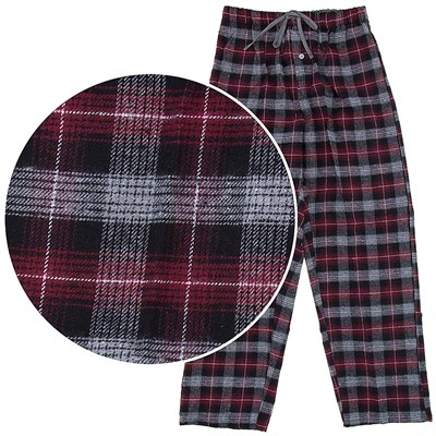 Red and Gray Plaid Flannel Pajama Pants for Men